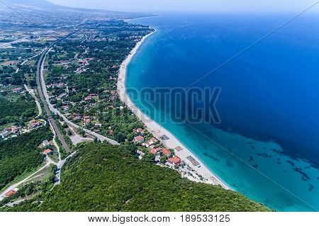 Aerial View Of Pantelemonna Beach In Pieria, Greece