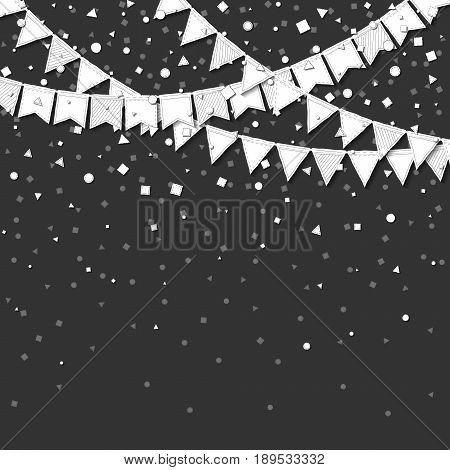 Bunting Party. Gorgeous Celebration Card With White Stitched Cutout Paper Bunting Party And Confetti