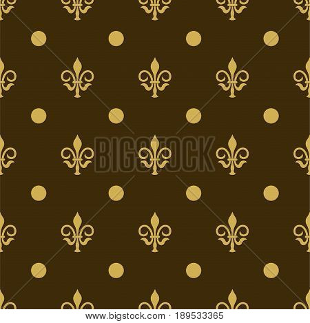Seamless texture fleur de lis fleur de lis painted in gold color on a gray background background for printing on fabric, fully editable vector images