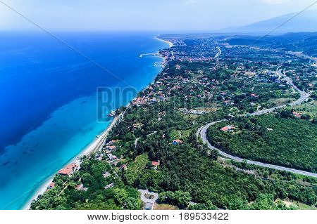 Aerial View Of Platamon Beach In Pieria, Greece