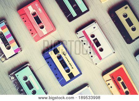 Collection of Retro Music Audio Cassette Tape 80s