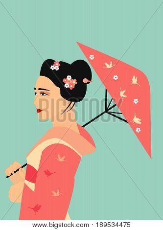 Illustration of the pretty geisha in traditional kimono with umbrella