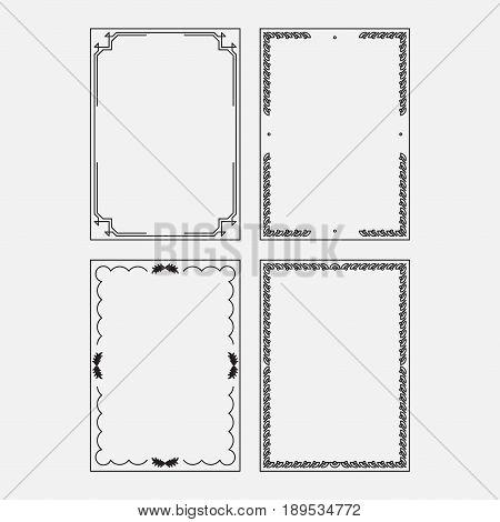 set vector image original design decorative ornamental frame