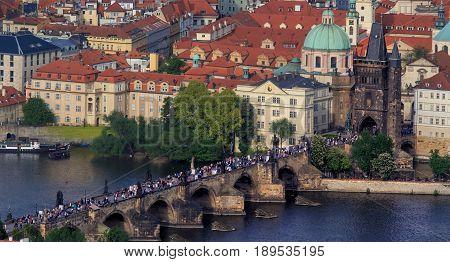 Prague - Charles bridge, Czech Republic. River Vltava
