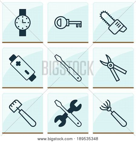 Instrument Icons Set. Collection Of Alkaline, Password, Screwdriver With Wrench And Other Elements. Also Includes Symbols Such As Wrench, Chainsaw, Accumulator.