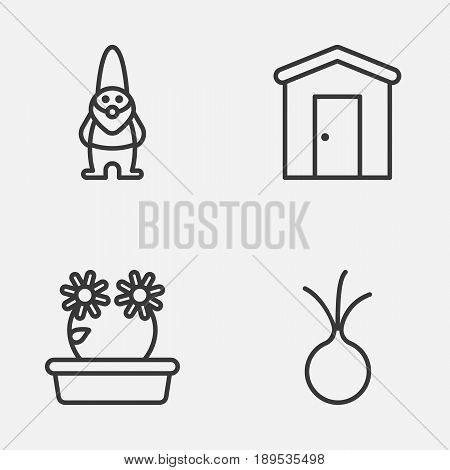 Gardening Icons Set. Collection Of Floweret, Garlic, Farmhouse And Other Elements. Also Includes Symbols Such As Barn, Dwarf, Vegetable.
