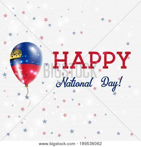 Liechtenstein National Day Patriotic Poster. Flying Rubber Balloon In Colors Of The Liechtensteiner