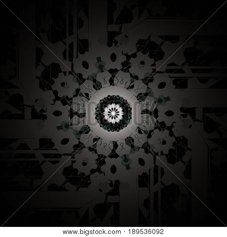 Abstract geometric background. Regular round centered ornament black and gray, shiny and delicate.