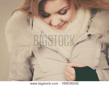 Happy Woman Wearing Winter Warm Furry Jacket