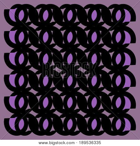Abstract geometric background. Regular ellipses ornaments black and purple shades framed.
