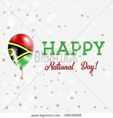 Vanuatu National Day Patriotic Poster. Flying Rubber Balloon In Colors Of The Ni-vanuatu Flag. Vanua