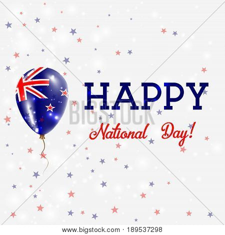 New Zealand National Day Patriotic Poster. Flying Rubber Balloon In Colors Of The New Zealander Flag