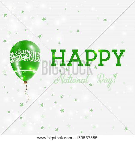 Saudi Arabia National Day Patriotic Poster. Flying Rubber Balloon In Colors Of The Saudi Arabian Fla