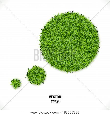 Green Grass Speech Bubble on White Background. Eco Home Concept. 3d Illustration
