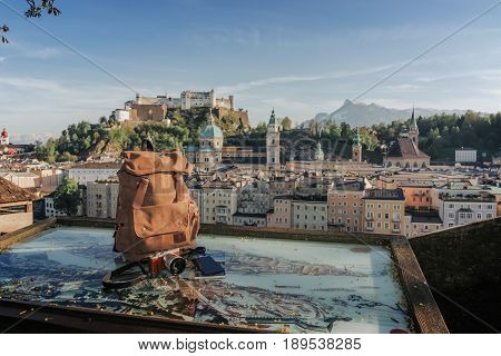 Austria. Salzburg. Preparation For Travel, Trip Vacation, Tourism Mock Up Of Cell Phone,road Map, Ba