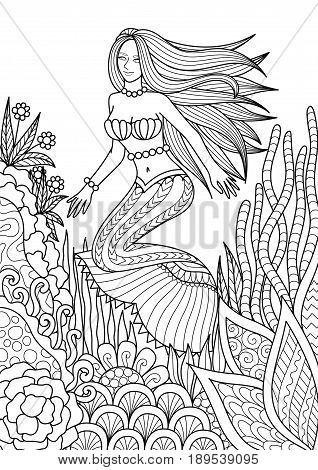 Pretty mermaid swimming among beautiful coral design for adult coloring book page. Vector illustration