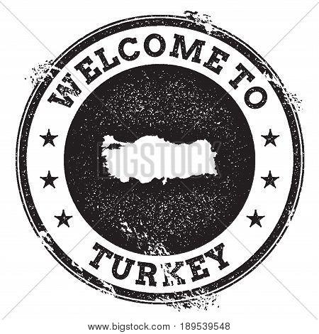 Vintage Passport Welcome Stamp With Turkey Map. Grunge Rubber Stamp With Welcome To Turkey Text, Vec