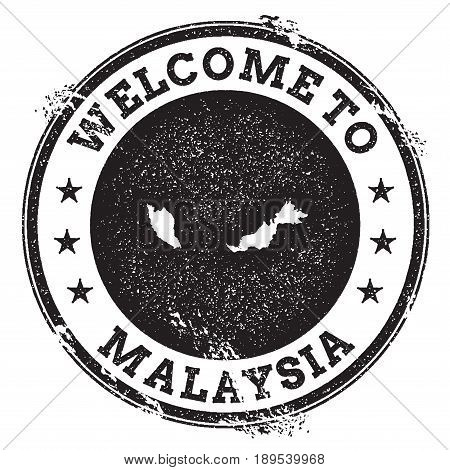 Vintage Passport Welcome Stamp With Malaysia Map. Grunge Rubber Stamp With Welcome To Malaysia Text,