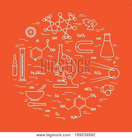 Stylized Vector Icon Of Variety Scientific, Education Elements: Microscope, Flask, Formula, Pestle A