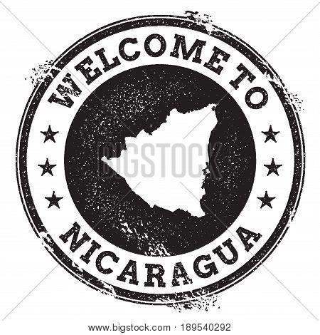 Vintage Passport Welcome Stamp With Nicaragua Map. Grunge Rubber Stamp With Welcome To Nicaragua Tex