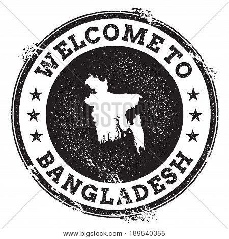 Vintage Passport Welcome Stamp With Bangladesh Map. Grunge Rubber Stamp With Welcome To Bangladesh T