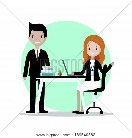 Cartoon business people at working table - illustration vector