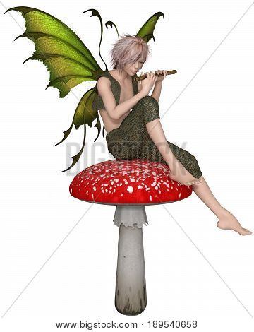 Fantasy illustration of a Fairy Boy sitting on a toadstool playing a wooden flute, digital illustration (3d rendering)