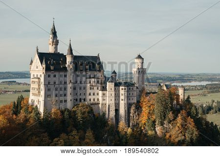 Autumn landscape - view of the famous tourist attraction in the Bavarian Alps - the 19th century Neuschwanstein castle.