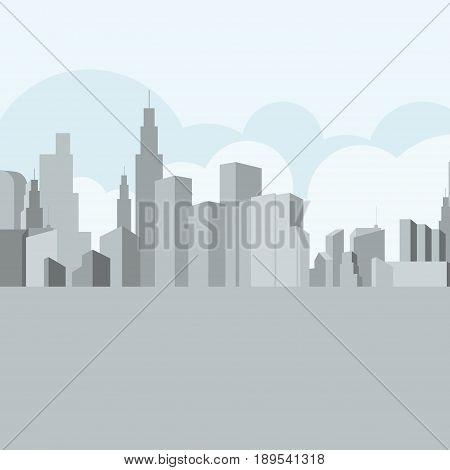 City building skyline, light gray and blue tone