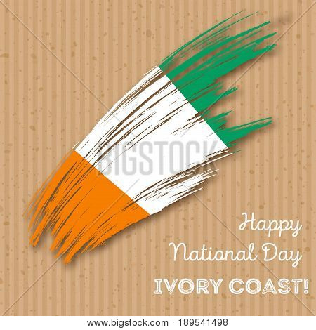 Ivory Coast Independence Day Patriotic Design. Expressive Brush Stroke In National Flag Colors On Kr