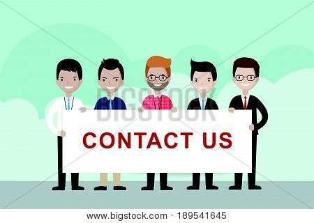 Cartoon businessmen holding CONTACT US sign - illustration vector