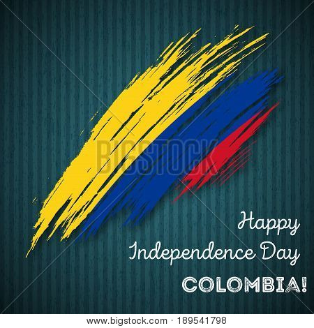 Colombia Independence Day Patriotic Design. Expressive Brush Stroke In National Flag Colors On Dark