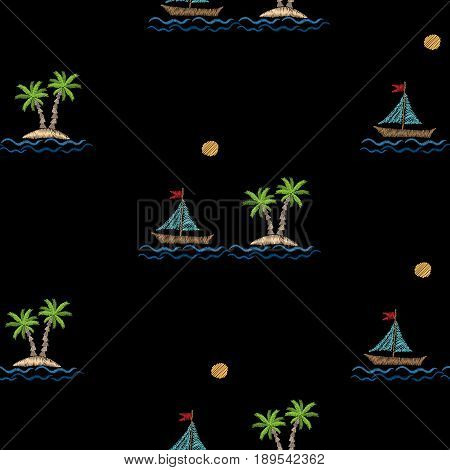 Seamless pattern with embroidery stitches imitation palm tree with boat wave and sun. Exotic palm tree embroidery pattern vector background for printing on fabric paper for scrapbook gift wrap.