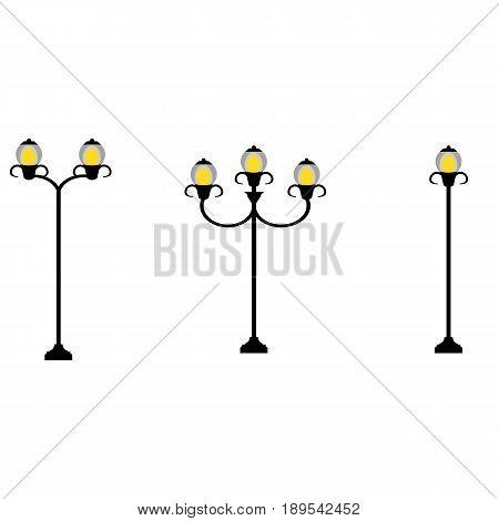 Flat style streetlamp set, vector illustration isolated on white background