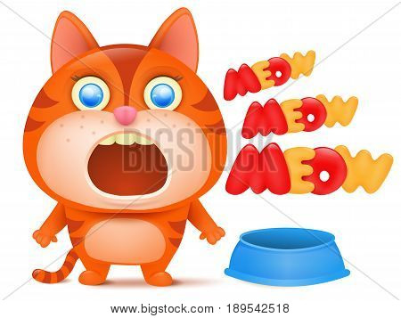 Hungry striped ginger cat cartoon character. Vector illustration