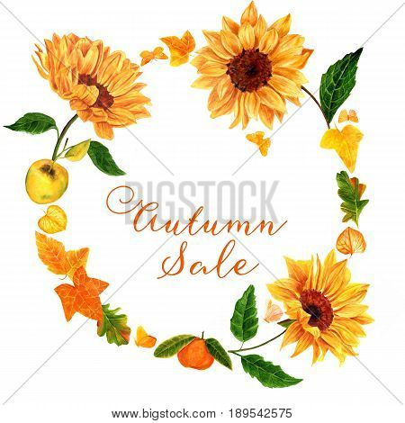 Autumn Sale template with watercolor sunflowers, fruits, apple and tangerine, fall leaves, ivy, oak, and others, and golden yellow butterflies on white background, with place for text or logo