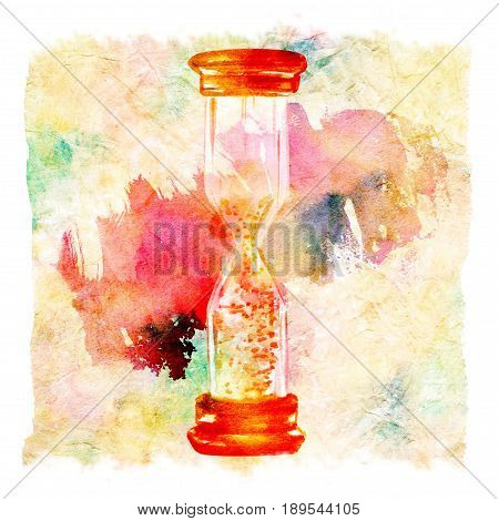A watercolor drawing of a vintage hourglass, with a paint stain in the background, on a crumpled abstract texture. The concept of time, with a place for text