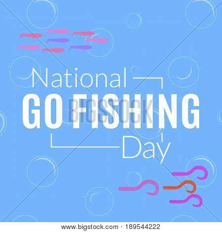 National go fishing day card illustration. Vector logo with colorful silicone twister baits in the water. Fishery card illustration