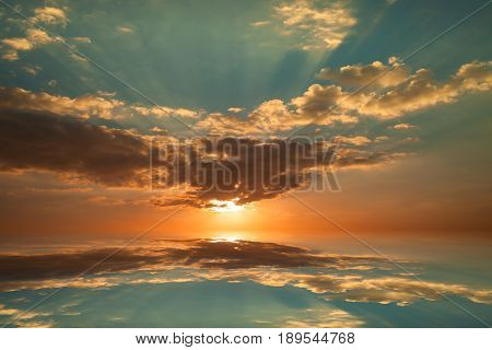Colorful sunrise sky and cloud with reflex and light