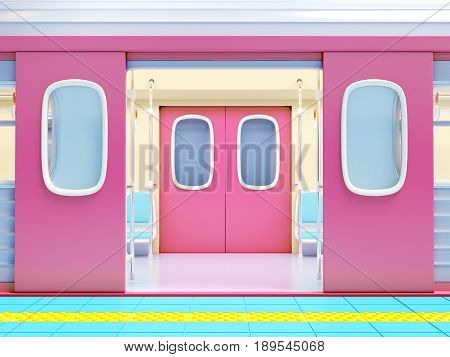 subway train on platform with open door. 3d illustration.