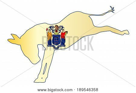 The New Jersey Democrat party donkey flag over a white background