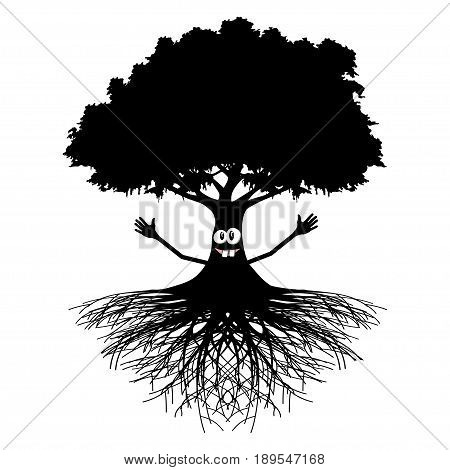 An illustration of a smiling tree with outstretched arms on a white background.