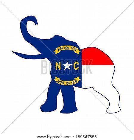 The North Carolina Republican elephant flag over a white background