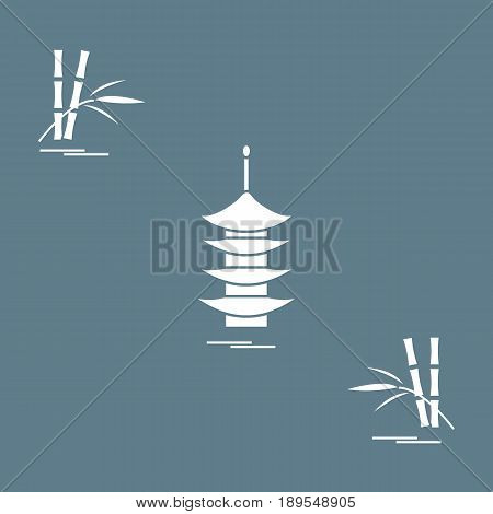 Stylized Icon Of The Pagoda And Bamboo. Travel And Leisure.