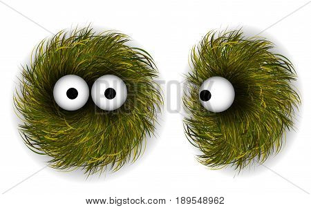 Grass Character or Little Shaggy Monster. 3d  Illustration
