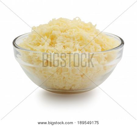 Grated cheese in a glass bowl isolated on white