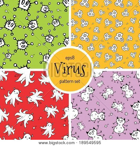 Hand Drawn Cartoon Virus Pattern for Medical Design. Cute Monster Characters of Germ Infection or Bacteria.  Microbe Pathogen Seamless Background. Scetched Funny Viruses for Booklet Cover