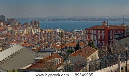 Lisbon Portugal. 23 February 2012.View of Lisbon town from the Santa Luzia viewpoint. Lisbon Portugal. photography by Ricardo Rocha.