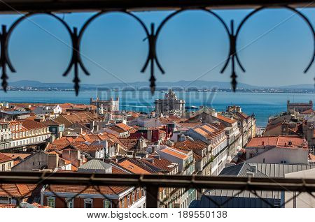 Lisbon Portugal. 13 September 2011.View of Lisbon town from the Santa Justa Elevator. Lisbon Portugal. photography by Ricardo Rocha.