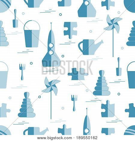Vector Pattern Of Different Kids Toys Objects: Rocket, Puzzle, Bucket, Scoop, Rake, Watering Can, Pi